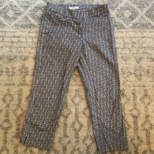 Navy and white patterned cropped pants